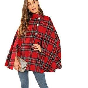 WILLA Plaid Cape Coat